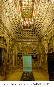 JODHPUR, INDIA- DECEMBER 4, 2016: Colorful interiors of royal meeting halls at Mehrangarh Fort in Jodhpur, Rajasthan,India