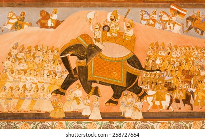 JODHPUR, INDIA - JAN 28: Maharaja riding on an elephant and his army on historical mural of Mehrangarh Fort on January 28, 2015. The foundation of the fort was laid on 1459 by indian ruler Rao Jodha