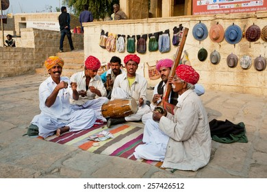 JODHPUR, INDIA - JAN 28: Traditional folk music band of Rajasthan play national song outdoor on January 28, 2015. Jodhpur, with population 1,290,000 people, is a center of Marwar region of India