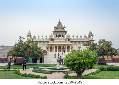 Jodhpur, India - January 1, 2015: Tourist visit The Jaswant Thada mausoleum on January 1, 2015 in Jodhpur, India. It is a white marble memorial built by Maharaja Sardar Singh of Jodhpur State in 1899.