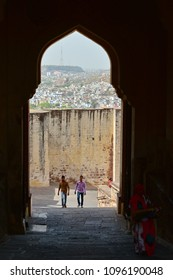 jodhpur, India - Mar 6, 2012\5. People come to Mehrangarh Fort in Jodhpur, India. Mehrangarh (Mehran Fort), located in Jodhpur, Rajasthan, is one of the largest forts in India.