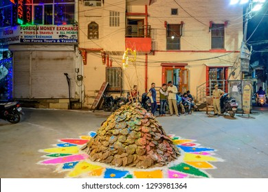 JODHPUR, INDIA - March 2, 2018: Street Bon Fire of Cow Dung set to Celebrate the Hindu Holiday of Holika Dahan the Evening Before the Holiday of  Holi