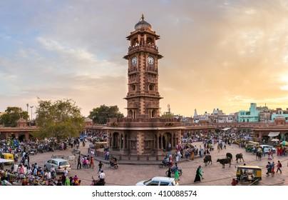 Jodhpur, India - March 7, 2016: Famous victorian Clock Tower in Jodhpur, India