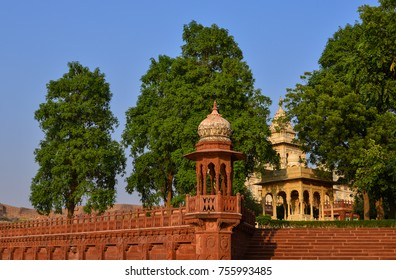 Jodhpur, India - Nov 11, 2017. Details of Jaswant Thada in Jodhpur, India. It was built by Maharaja Sardar Singh of Jodhpur State in 1899 in memory of his father.