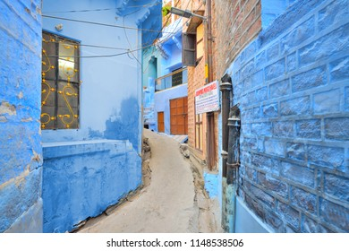 Jodhpur, India - November 06, 2017:  Residential houses on the sides of narrow blue lanes of old city.