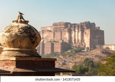JODHPUR, INDIA - NOVEMBER 26, 2012: Mehrangarh Fort with Jodhpur city scape at sunset. A UNESCO World heritage site at Jodhpur, Rajasthan, India
