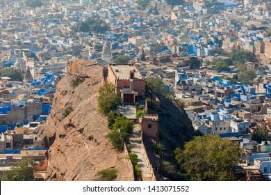 JODHPUR, INDIA - NOVEMBER 26, 2012: The blue city of Jodhpur as seen from the Mehrangarh Fort, Jodhpur, Rajasthan