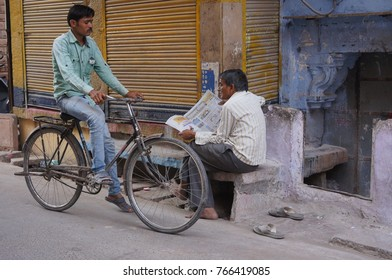 Jodhpur, India - November 5, 2016 : Street life of Indian people with local transportation.