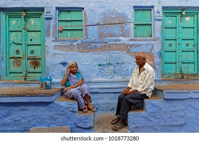 JODHPUR, INDIA, October 31, 2017 : People in Jodhpur, called the Blue City. Jodhpur is a popular tourist destination, featuring many palaces, forts and temples.