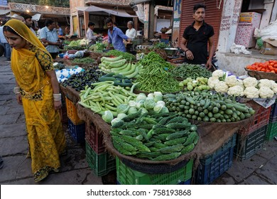 JODHPUR, INDIA, October 31, 2017 : Market of Jodhpur. Jodhpur is a popular tourist destination, featuring many palaces, forts and temples, set in the stark landscape of the Thar Desert.
