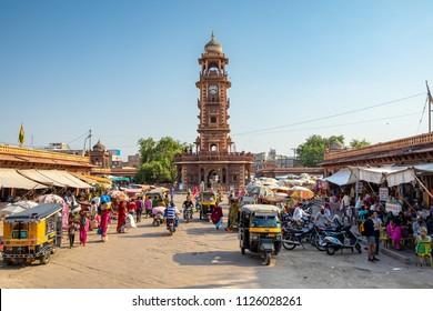 Jodhpur, India - October 6, 2017: Famous victorian Clock Tower in Jodhpur, India