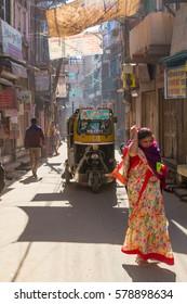 Jodhpur, India,16th January 2017 -A narrow sidestreet in Jodhpur, India.