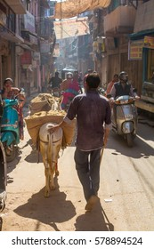 Jodhpur, India,16th January 2017 - A  man with his donkey in a narrow sidestreet in Jodhpur, India.