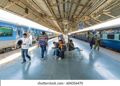 Jodhpur, India,18th January 2017 - a railway platform in Jodhpur, India.