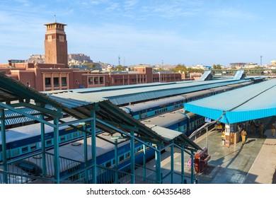 Jodhpur, India,18th January 2017 - a railway station in Jodhpur, India.
