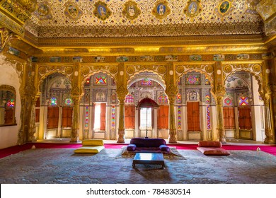 Jodhpur, Rajasthan, India, December 14,2017: Golden royal palace room with architectural details and carvings at Mehrangarh Fort, Jodhpur.