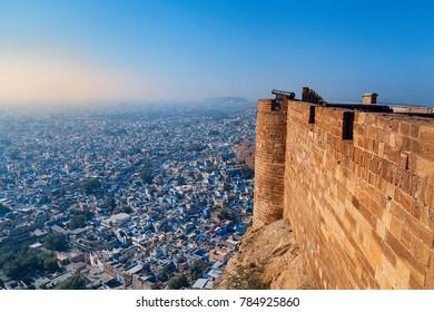 Jodhpur, Rajasthan, India - December 27, 2014 : A view of Jodhpur Blue City from Mehrangarh Fort - Jodhpur