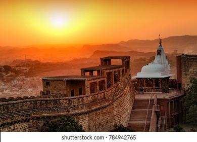 Jodhpur, Rajasthan, India - December 28, 2014 : A view of Jodhpur Cityscape from Mehrangarh Fort - Jodhpur