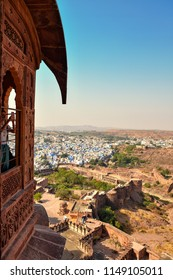 Jodhpur, Rajasthan, India - January 23, 2018 : Beautiful view of Mehrangarh Fort in blue city Jodhpur. Rajasthan, India