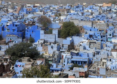 JODHPUR, RAJASTHAN, INDIA - MARCH 14, 2006: Typical blue houses in a neighborhood of old Brahmins city