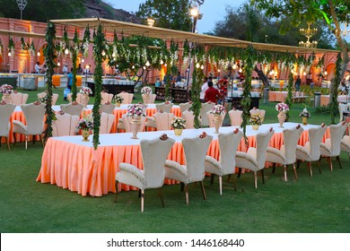 Jodhpur, rajasthan, india - May 18th, 2018: luxurious Long dinner tables and chairs, rich decorated with flowers , Indian Wedding arrangement setup - Image