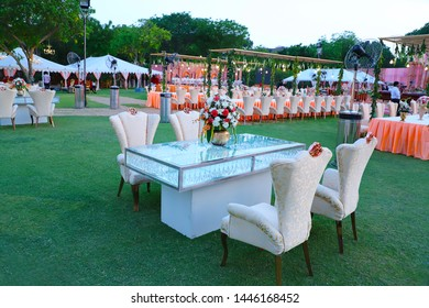 Jodhpur, rajasthan, india - May 18th, 2018: luxurious Long dinner tables and chairs, rich decorated with flowers, Royal wedding arrangement setup - Image