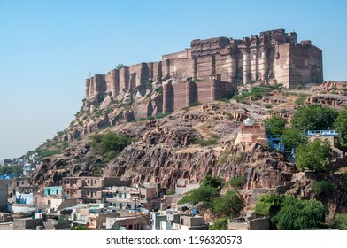 JODHPUR, RAJASTHAN, INDIA - OCT 17, 2011 : the mighty ramparts of Fort Mehrangarh dominate the blue city, Jodhpur, on October 17, 2011