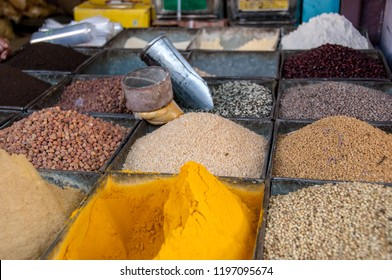 JODHPUR, RAJASTHAN, INDIA - OCT 17, 2011 : curry powder, seeds and various spices for sale on a stall at the market in Jodhpur, on oct 17, 2011.