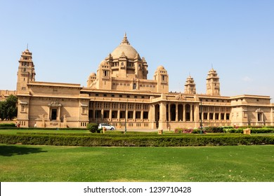 JODHPUR, RAJASTHAN, INDIA - OCTOBER 26, 2018: Umaid Bhawan Palace, located in Jodhpur in Rajasthan, is one of the world's largest private residences. A part of the palace is managed by Taj Hotels.