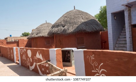 Jodhpur Rajasthan, India : October 8, 2017 - Beautiful Clay Huts in Village