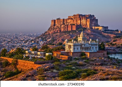Jodhpur, Rajasthan, India- Sunrise at the Mehrangarh Fort and Jaswant Thada Mausoleum with the blue city in the background