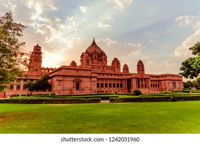 Jodhpur, Rajasthan, India-October, 2018: Umaid Bhawan Palace is large private residences, designed by architect Henry Vaughan Lanchester as blend of western technology & Indian architectural features.
