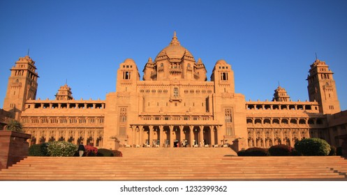 Jodhpur, Rajasthan/India- January 22, 2016: The beautiful Umaid Bhawan Palace which is a Taj Hotel in Jodhpur