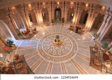 Jodhpur, Rajasthan/India- January 23, 2016: The main lobby of the Umaid Bhawan Palace which is a Taj Hotel