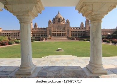 Jodhpur, Rajasthan/India- January 24, 2016: A view of the Umaid Bhawan Palace from the palace grounds in Jodhpur