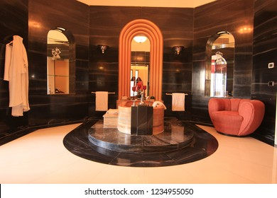 Jodhpur, Rajasthan/India- January 24, 2016: The grand bathroom with single piece Italian marble bathtub in the Maharani Suite of the Umaid Bhawan Palace in Jodhpur