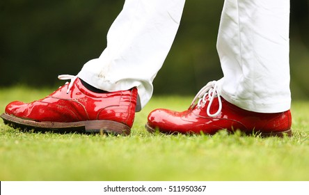 Jodie Kidd's red golf Shoes at a Celebrity golf day at Mannings Heath Golf Club, Horsham, West Sussex