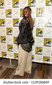 "Jodie Turner-Smith attends Comic-Con International San Diego 2018 - Syfy's ""Nightflyers"" press room, San Diego, California on July 19, 2018"