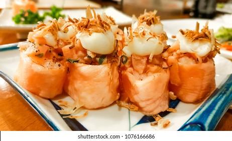 Joe. Japonese salmon sushi.
