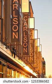 JOENSUU / FINLAND - December 01, 2018: Facade of Carlson store