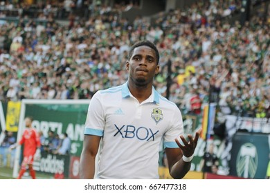 Joevin Jones defender for the Seattle Sounders at Providence Park in Portland,OR USA June 25,2017.