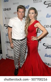 "Joey Fuller and Eva Danielle arrives at the ""2016 Fashion Tails Adopt A New Attitude"" Coffee Book and Art Exhibit benefit on Oct. 6, 2016 at Lombardi House in Los Angeles, CA."