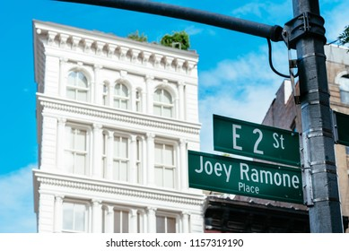 Joey Ramone Place road sign in East Village of New York City