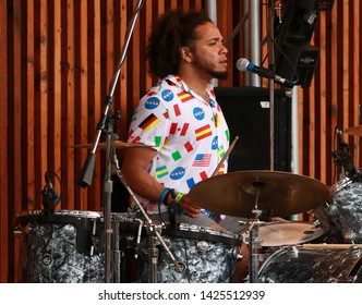 Joey Reed Drummer for the Rock Band MILLK (Main Intent Live Like Kings) at the FIBARK Festival, Salida, CO/USA (June 15, 2019)