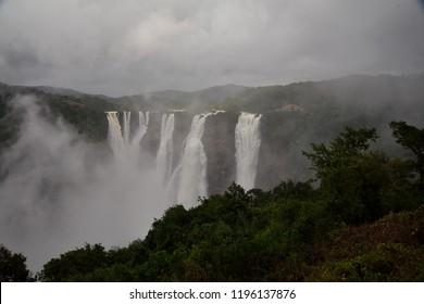 Jog Falls, Gerosoppa Falls or Joga Falls at Sharavathi river in Karnataka State of India. It is the second highest plunge waterfall in India located in Sagara taluk.