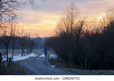Jogger goes on a dirt road between trees in the direction of the rising sun which turns the sky red