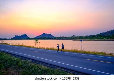 Jogging beside the lake