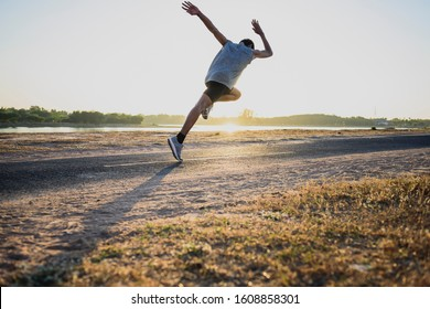 Jogging concept at outdoors. Man running for exercise.