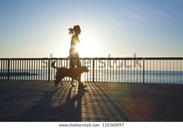 jogging with dog