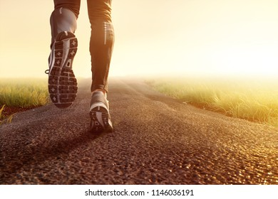 Jogging on dirt road